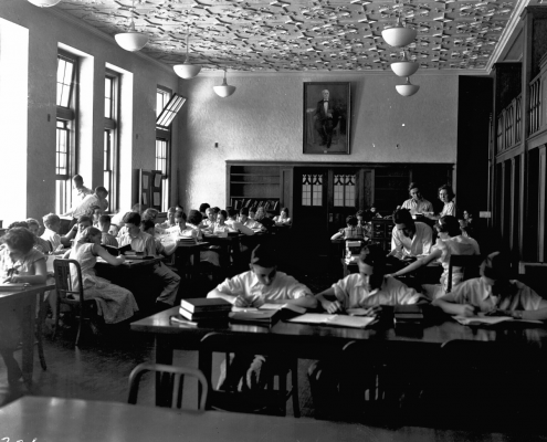 1940s - P.K. Yonge Laboratory School Students sitting at tables in the Norman Library