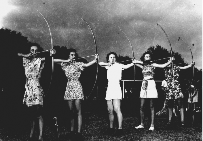 1940s - Women in an archery class at the P. K. Yonge Laboratory School on the University of Florida campus