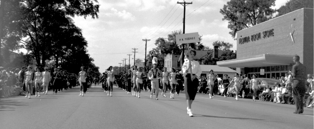 1961 P.K. Yonge marching band in the UF Homecoming Parade