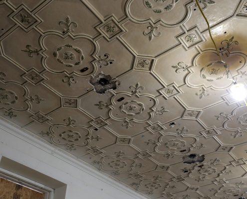Damaged Historic Classroom ceiling closeup
