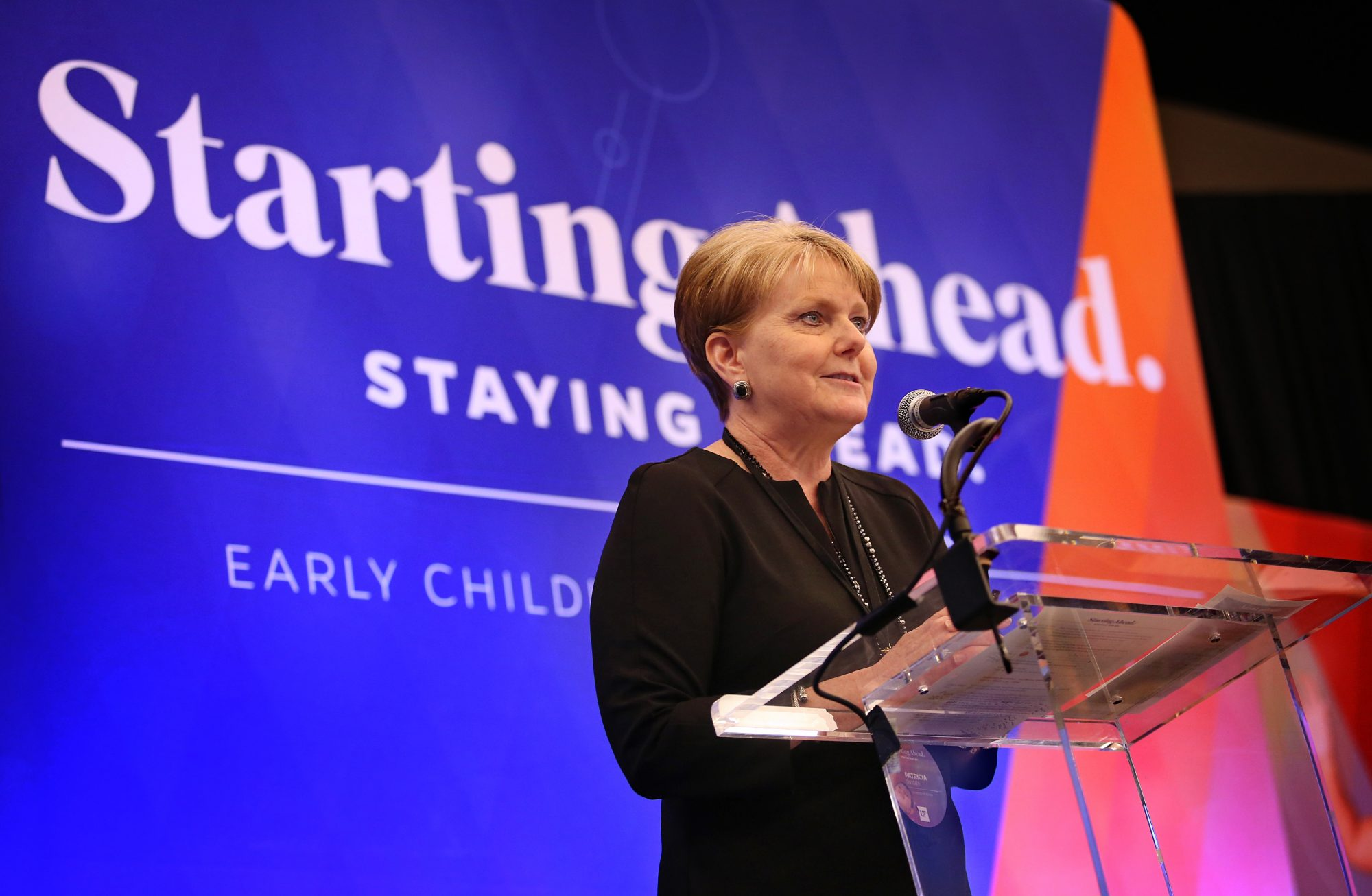 Patricia Snyder Ph.D. giving a speech at the Early Childhood National Summit