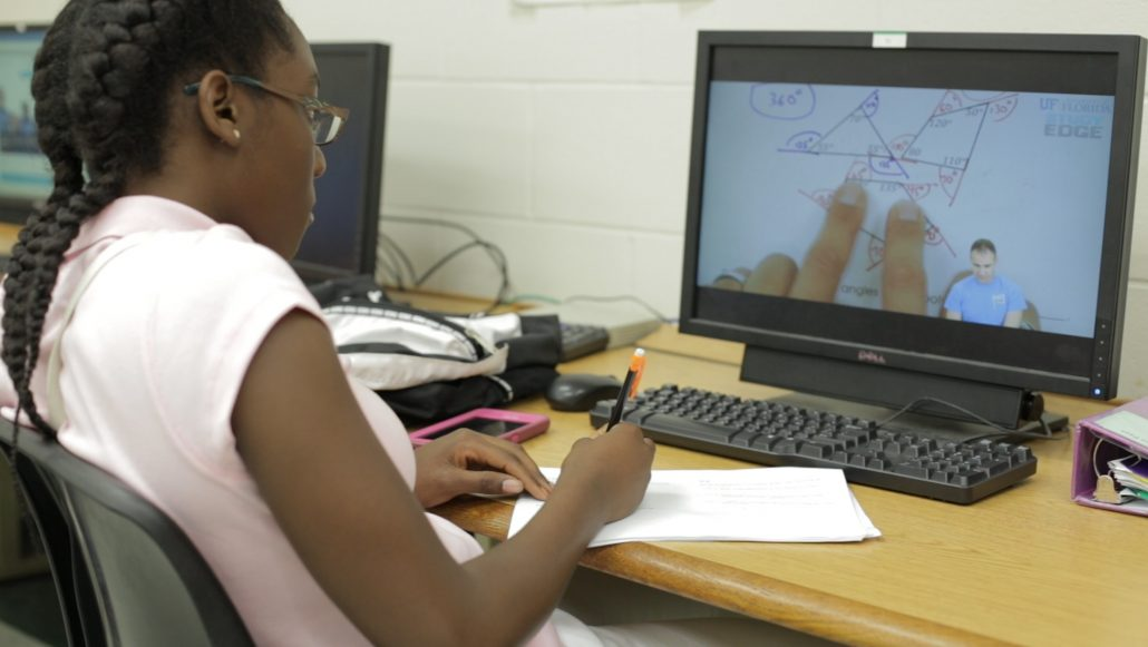 Student using Algebra Nation on a computer.