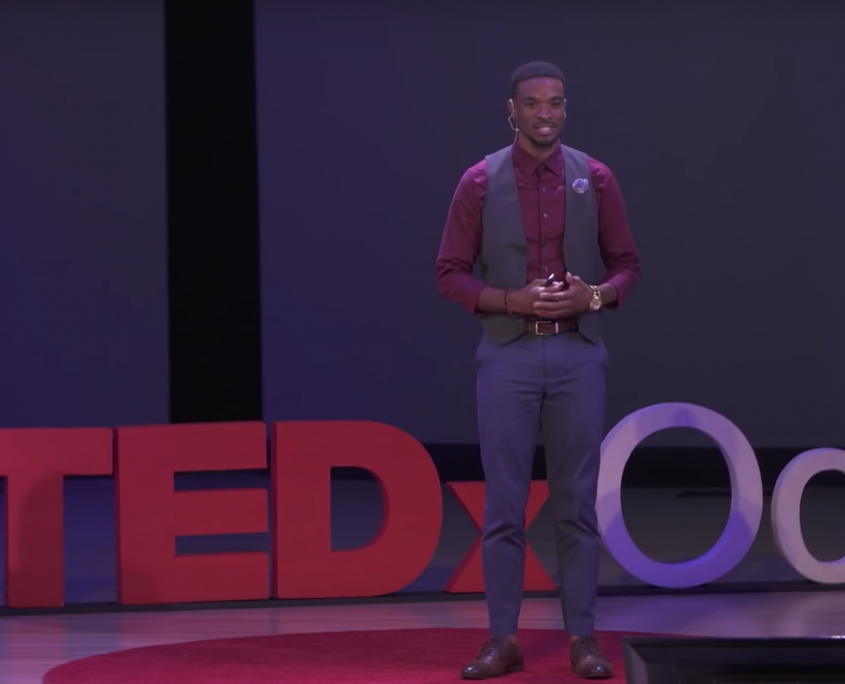 Caleb Chambliss giving TEDx talk
