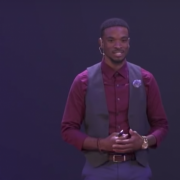 Caleb Chambliss giving a TEDx speech