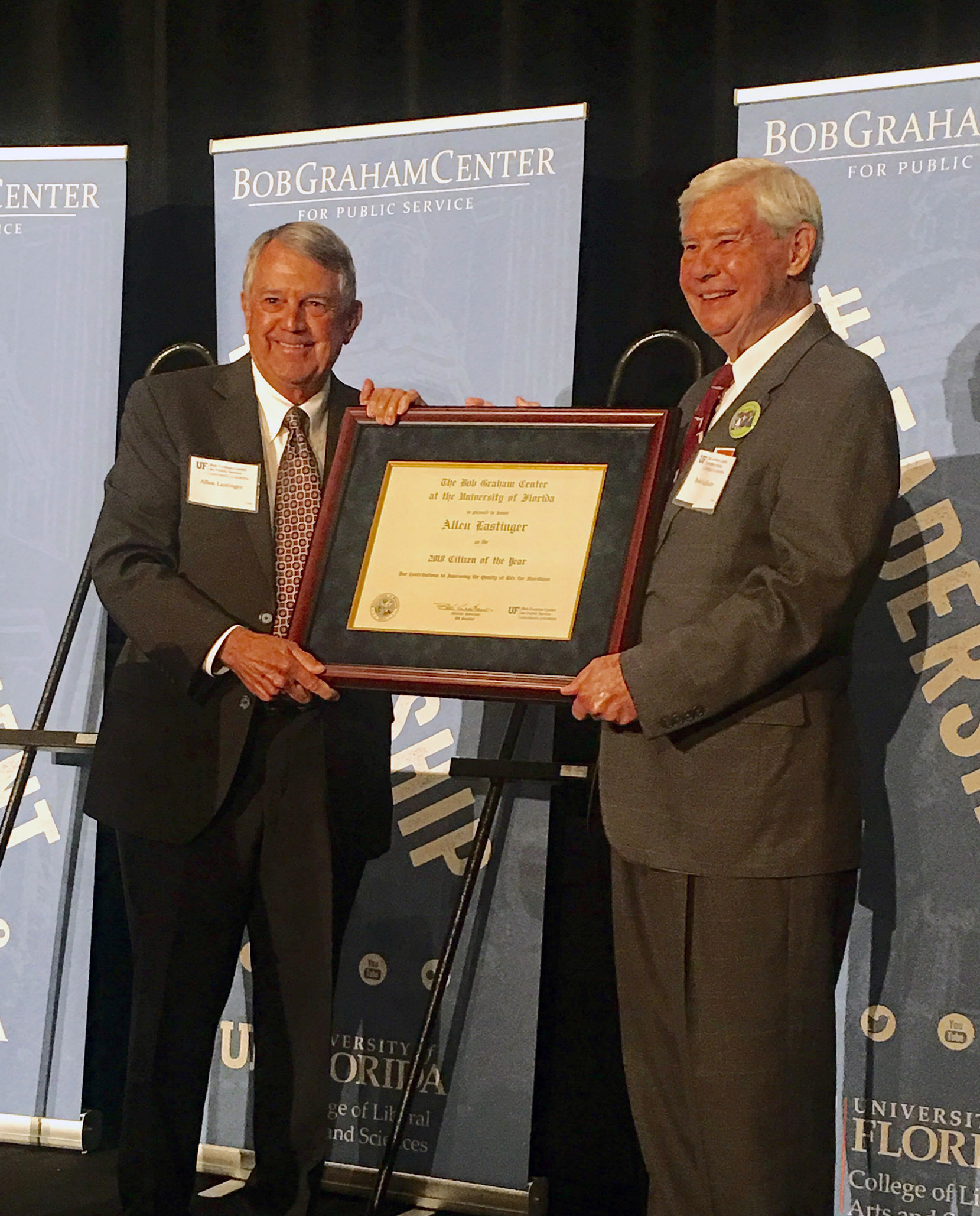 Bob Graham with Allen Lastinger receiving the Citizen of the Year award