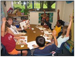 P.K. Yonge teacher Angela Johnson teaches reading to students in her third-grade class.