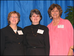 Dean Catherine Emihovich; Barbara Rodgers, recipient of the Dr. Clemens Hallman Scholarship; and Jo Anna Hallman, who funded the scholarship in memory of her husband, Dr. Clemens Hallman.