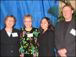 Dean Catherine Emihovich; Barbara Anderson, donor of the Barbard and Richard Anderson Scholarship, along with her husband Richard Anderson, far right with the recipient of their scholarship, Genevieve Schurack.