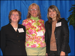 Dean Catherine Emihovich; Karen A. Koegel, donor of the Karen A. Koegel Annual Scholarship; and Joyce Tardaguila-Harth, recipient of the Karen A. Koegel Annual Scholarship.