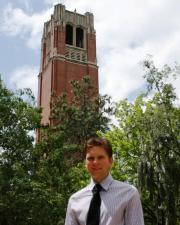 Michael Sulkowski in front of Century Tower on the UF campus.