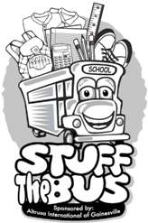 School bus with happy face, overflowing with school supplies
