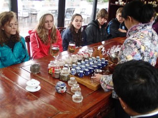 P.K. Yonge students experience and learn about Chinese tea culture at the Yu Garden in Shanghai.