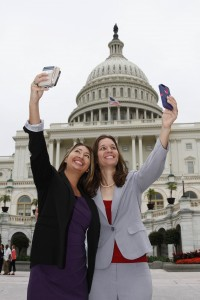 "Sandi Logan, left, and Jacqueline Swank pose for ""selfies"" on Capitol Hill while attending the ACA Institute for Leadership Training."
