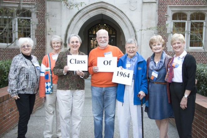 "Seven members of the COE class of 1964 pose at a luncheon honoring their induction into the UF Alumni Association's Grand Guard for 50-year alumni. Pictured from left are Anna Karaylannakis, Joyce Neilson, Diane Haines, Steve Freedman, Carol Hayes-Christiansen, Virginia ""Pep"" Culpepper and Diane Brown."