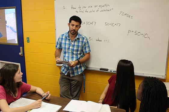 Van Boven in his classroom.