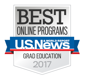 US News and World Report badge for No. 1 ranking for online graduate education degree protrams