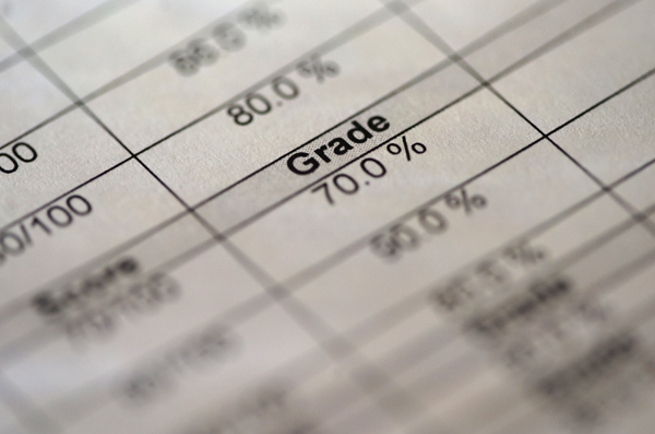 A report card showing a 70% grade.
