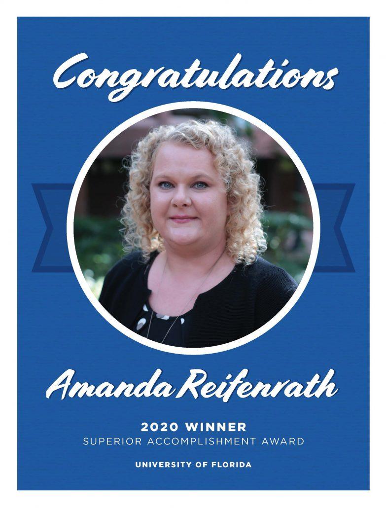 Amanda Reifenrath Superior Accomplishment Award Congratulations