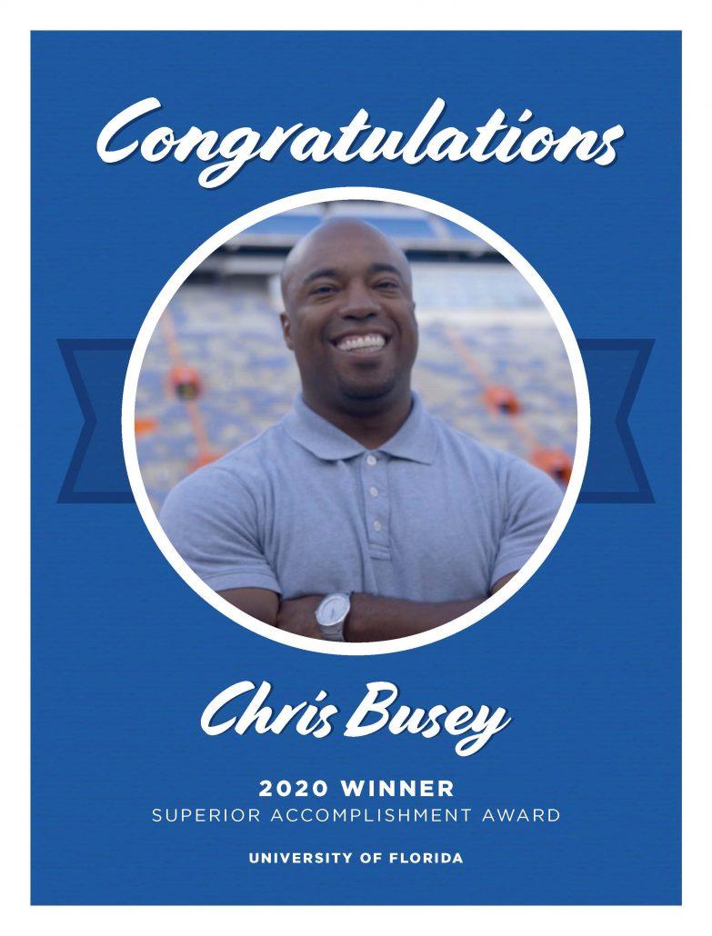 Chris Busey Superior Accomplishment Award Congratulations