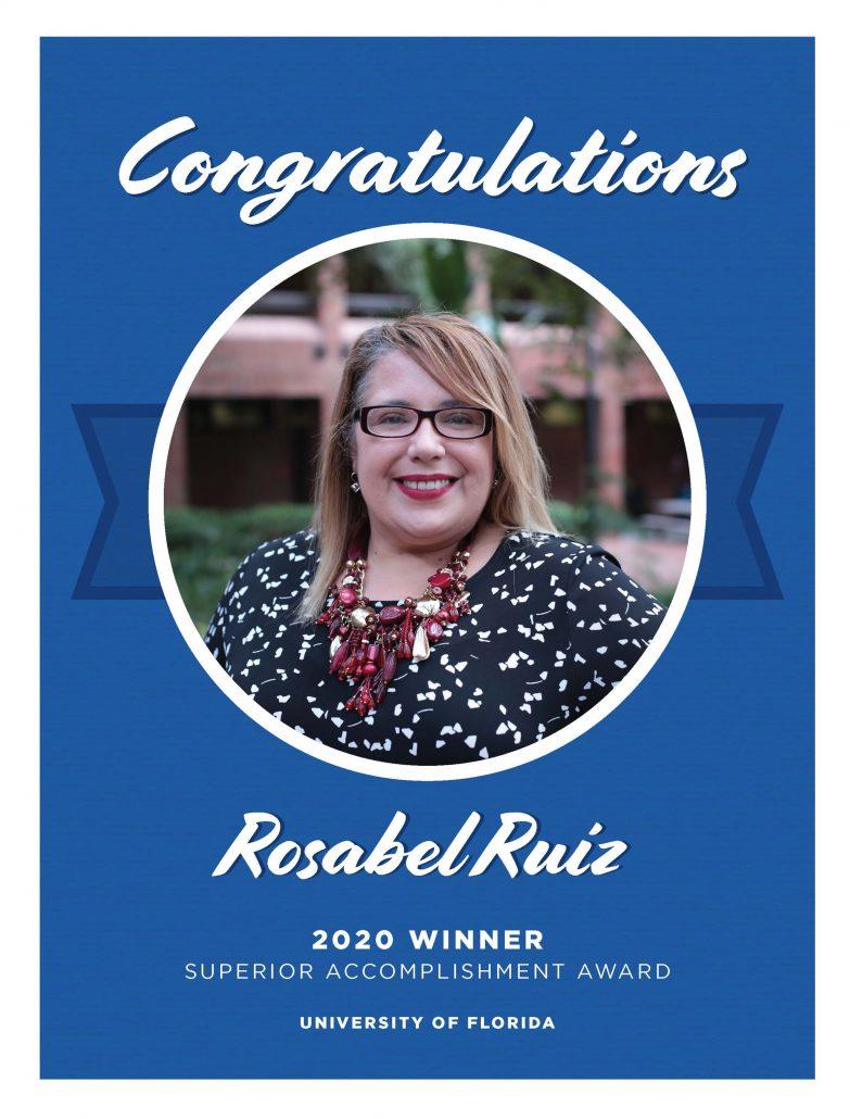 Rosabel Ruiz Superior Accomplishment Award Congratulations