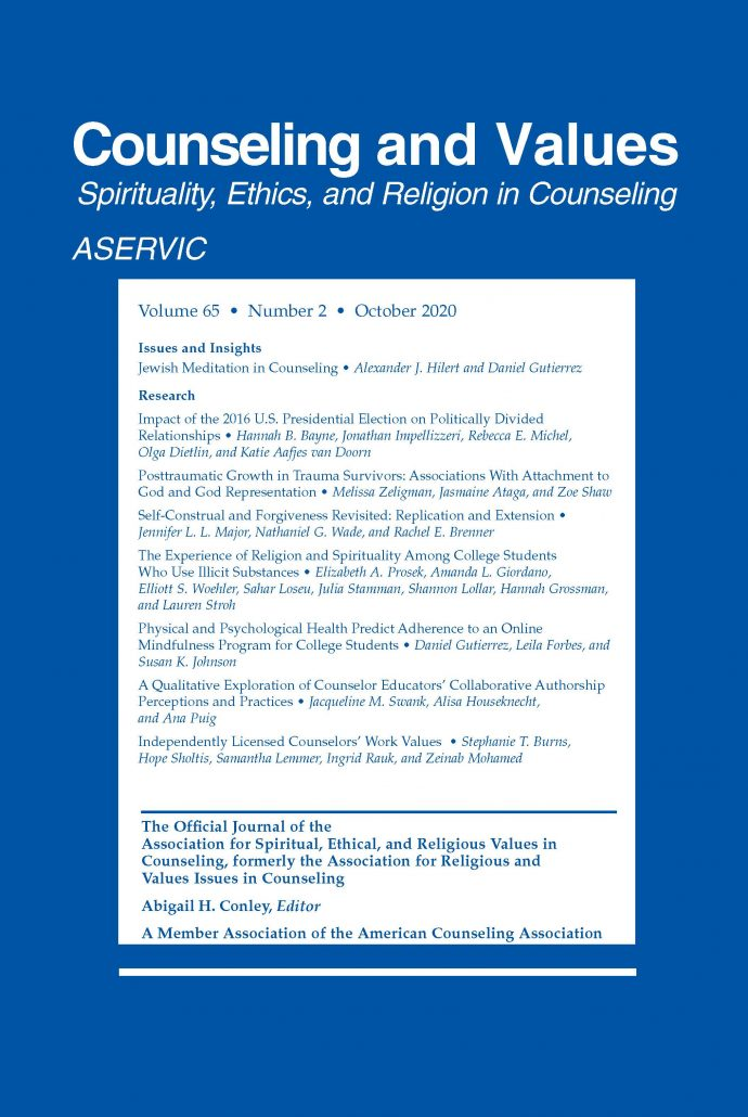 ASERVIC Counseling and Values Journal Cover October 2020
