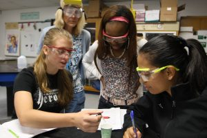 Science students working on a project