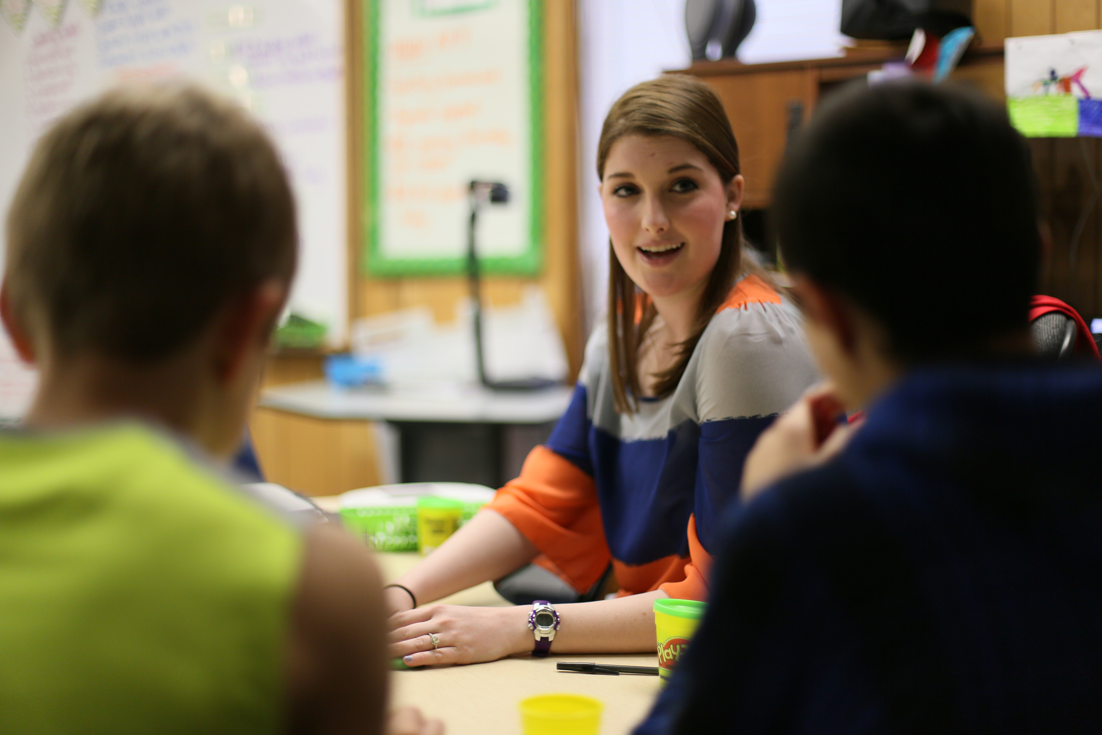 teacher leads group activity