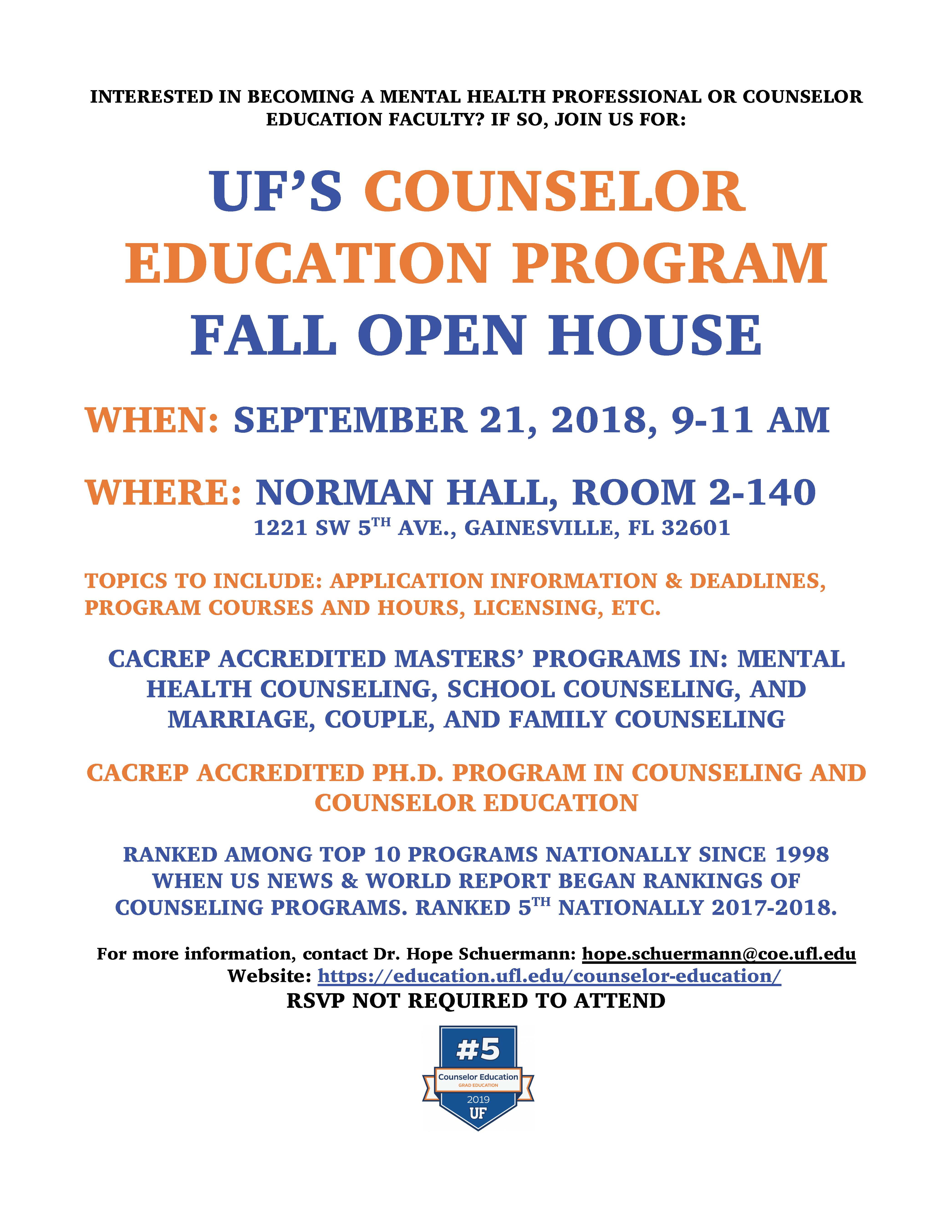 Uf School Calendar.Uf S Counselor Education Program Fall Open House Student Services