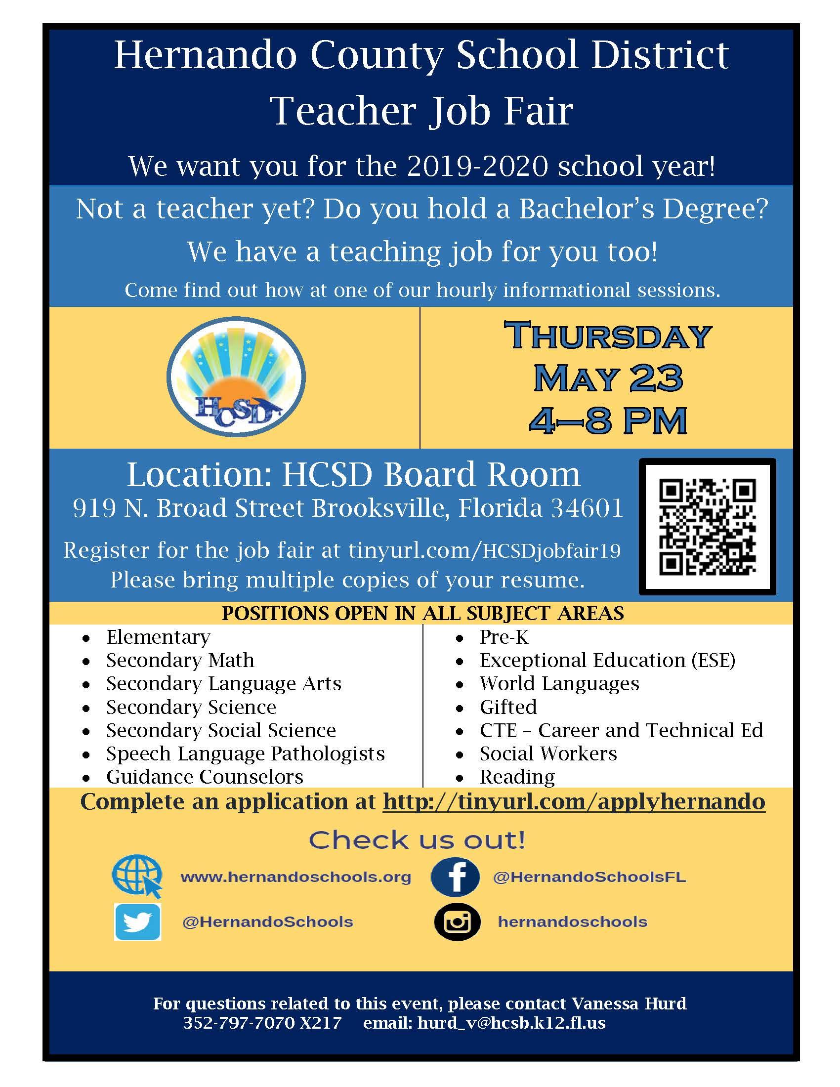 Hernando County Events 2020.Hernando County School District Teacher Job Fair Student