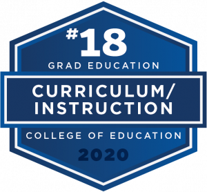 Curriculum/Instruction graduate education ranked #18 in the nation